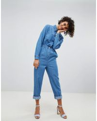 ASOS - Denim Utility Jumpsuit In Blue - Lyst