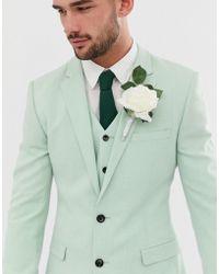 ASOS - Wedding Super Skinny Suit Jacket In Green Cross Hatch - Lyst