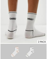 Monki 2-pack Slogan Socks In White