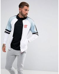 11 Degrees | Track Jacket In White With Blue Panels | Lyst
