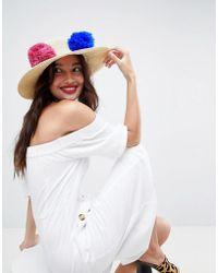 ASOS - Straw Hat With Pom Pom Trim And Size Adjuster - Lyst
