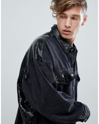 ASOS - Oversized Denim Jacket With Vinyl And Sequin Panels In Black - Lyst