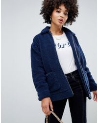 Missguided - Oversized Borg Zip Jacket In Navy - Lyst