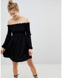 ASOS - Off Shoulder Sundress With Shirring And Balloon Sleeves - Lyst