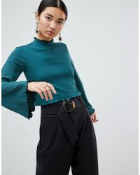 NA-KD - High Neck Frill Detail Jersey Top In Green - Lyst