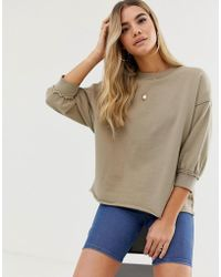 ASOS - Washed Sweatshirt With Wide Sleeve In Khaki - Lyst