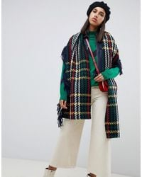 ASOS - Wool Woven Check Scarf With Fringed Edge - Lyst