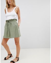 ASOS - Cotton Mini Skater Skirt With Tie Waist - Lyst