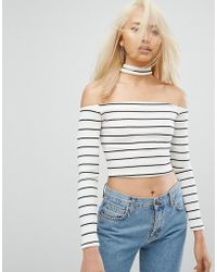ARRIVE - Bardot Stripe Crop Top With Collar - Lyst