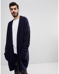 ASOS - Boucle Longline Cardigan In Navy - Lyst