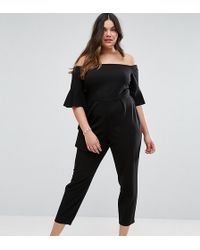ASOS - Bardot Jumpsuit With Ruffle Sleeve Detail - Lyst