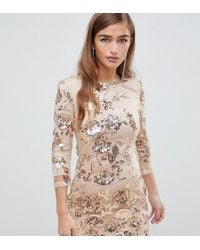 TFNC London - Floral Sequin Mini Bodycon Dress In Rose Gold - Lyst