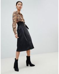 NA-KD - Paperbag Detail Midi Skirt In Black - Lyst