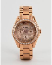 Fossil - Es2811 Riley Bracelet Watch In Rose Gold - Lyst