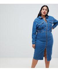 ASOS - Asos Design Curve Denim Utility Dress In Midwash Blue - Lyst