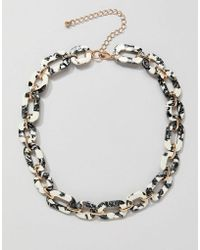 ASOS - Design Necklace In Resin With Chain In Gold - Lyst