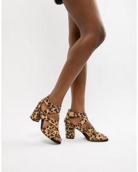 Oasis - Block Heeled Sandal In Animal - Lyst