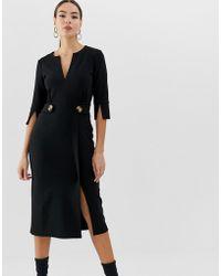 ASOS - V Neck Midi Pencil Dress With Button Waist - Lyst