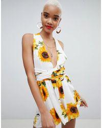 PrettyLittleThing - Sunflower Print Tie Waist Romper - Lyst