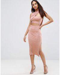 ASOS - Slinky Two Piece Wrap Midi Bodycon Dress - Lyst