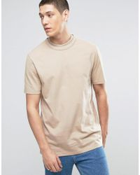 ASOS | Longline T-shirt In Heavyweight Jersey With Double Neck Detail In Beige | Lyst