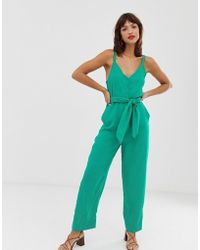 a8472d5674be ASOS Sequin Jumpsuit With Raw Edge Detail And Culotte Leg in Pink - Lyst