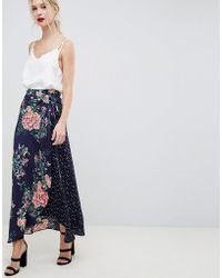 Liquorish - Polka Dot And Floral Mixed Print Wrap Maxi Skirt - Lyst