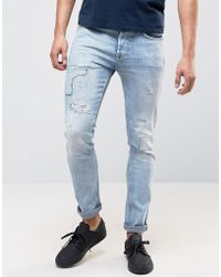 Pepe Jeans   Pepe Archive Eddy Skinny Fit Jean Bleach Destroyed Wash   Lyst