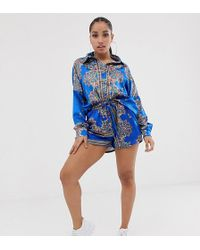 635a1a3e14 Missguided Short en satin à imprimé foulard - Bleu (ensemble
