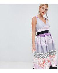 True Violet - Midi Prom Dress In Print Mash Up - Lyst