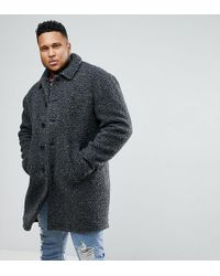 ASOS - Plus Borg Overcoat In Charcoal - Lyst