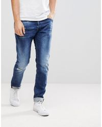 DIESEL - Tepphar Jeans In Mid Wash With Abraisions - Lyst