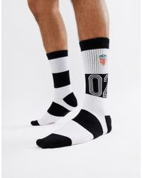 Huf - Play Maker Striped Socks In Black - Lyst