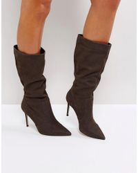 Carvela Kurt Geiger - Special Grey Suede Slouch Heeled Ankle Boots - Lyst