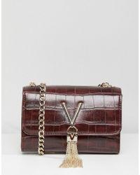 Valentino By Mario Valentino | Mock Croc Foldover Tassel Detail Cross Body Bag | Lyst