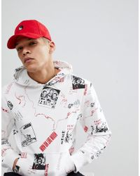 ASOS - Baseball In Red Suedette With Yin Yang Embroidery - Lyst