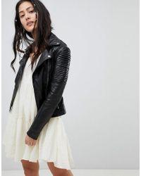 Barneys Originals - Dominique Leather Biker Jacket - Lyst