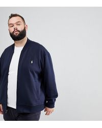 Polo Ralph Lauren - Big & Tall Full Zip Sweat Bomber Player Logo In Navy - Lyst
