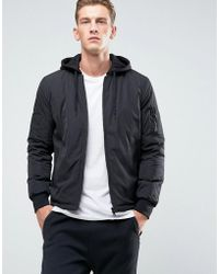 New Look - Ma1 Bomber With Jersey Hood In Black - Lyst
