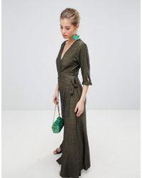Traffic People - V Neck 3/4 Sleeve Wrap Maxi Dress - Lyst
