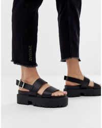137f34074181d Lyst - ASOS Fico Chunky Gladiator Flat Sandals in Black