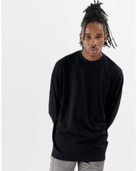 ASOS - Oversized Long Sleeve T-shirt With Turtle Neck In Black - Lyst