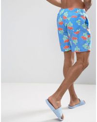 ASOS - Design Swim Shorts With Cactus Print In Mid Length - Lyst