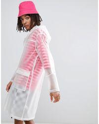 ASOS - Design Festival Hooded Transparent Rain Coat In White - Lyst