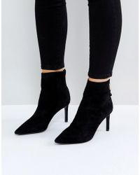 Dune - Oralia Suede Pointed Heeled Boots - Lyst