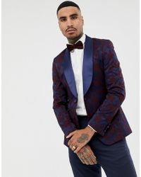 ASOS - Super Skinny Blazer In Navy Floral Jacquard With Shawl Lapel - Lyst