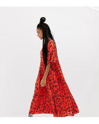 Collusion - Leopard Print Midi Smock Dress - Lyst