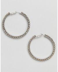 ALDO - Silver Embellished Hoop Earrings - Lyst