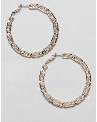 ASOS - Hoop Earrings With Vintage Style Twist Design In Gold - Lyst