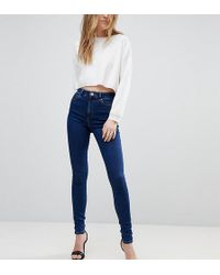 ASOS - Asos Design Tall Ridley High Waist Skinny Jeans In Popular Deep Blue Wash - Lyst